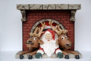 Santa and Funny Reindeer with Chimney (JR GD)