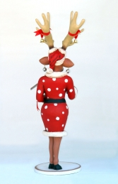 Funny Reindeer Female with Christmas Box 6ft (JR IX) - Thumbnail 03