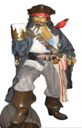 Captain Jack style Pirate with Beer & Barrel Life-size (JR 2518)