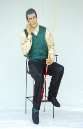 Pool Player seated Life-size (JR 1647) - Thumbnail 01