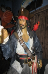 Captain Jack style Pirate with Beer & Barrel Life-size (JR 2518) - Thumbnail 03