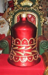 Christmas Decor Bell Red w/Gold (JR 1189-H)