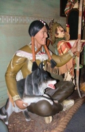 Indian Warrior seated with Wolf (JR 1054) - Thumbnail 01