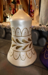 Christmas Decor Bell White w/Gold (JR 1188-F)