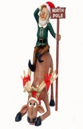 Funny Reindeer with Elf at North Pole (JR EF) - Thumbnail 01