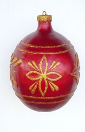 Christmas Decor Ball Red w/Gold 2.5ft (JR 1192-C) - Thumbnail 01