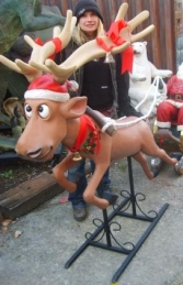 Funny Reindeer Flying pose life size model (JR 2295-R)