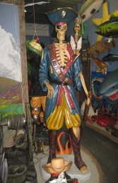 Skeleton Pirate with Monkey 6FT (JR 030719) - Thumbnail 01