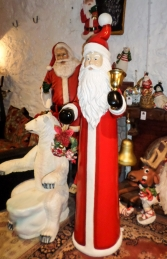 Skinny Santa with Bell and Wreath - 6ft (JR 160156) - Thumbnail 03
