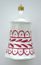 Christmas Decor Bell White w/Red (JR 1188-D)