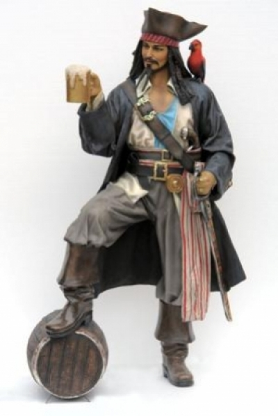 LIFE SIZE CAPTAIN JACK PIRATE STATUE